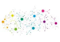 Grafik mit bunten Punkten, die miteinander vernetzt sind