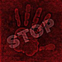 Rote Hand und Stop vor rotem Hintergrund
